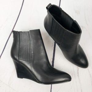 Sam Edelman Gillian Leather Wedge Bootie Black
